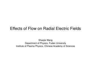 Effects of Flow on Radial Electric Fields