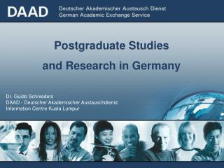 Postgraduate Studies and Research in Germany