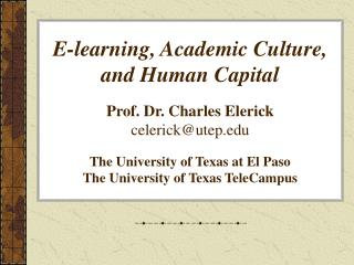 I. HUMAN CAPITAL AND  POST-SECONDARY EDUCATION