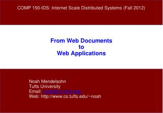 From Web Documents to Web Applications
