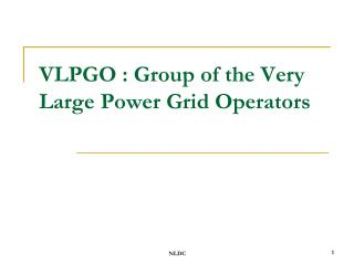 VLPGO : Group of the Very Large Power Grid Operators
