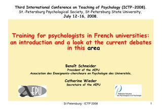 Training for psychologists in French universities: