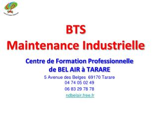 BTS  Maintenance Industrielle