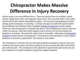 Chiropractor Makes Massive Difference in Injury Recovery