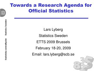 Towards a Research Agenda for Official Statistics