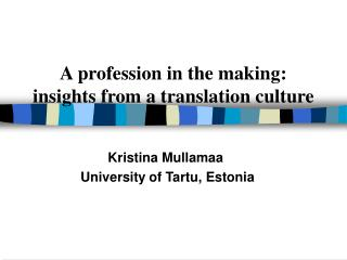 A profession in the making : insights from a translation culture