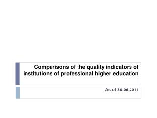 Comparisons of the quality indicators of institutions of professional higher education