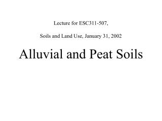 Lecture for ESC311-507,  Soils and Land Use, January 31, 2002 Alluvial and Peat Soils