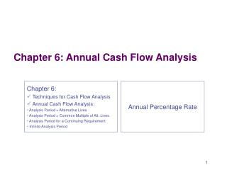 Chapter 6: Annual Cash Flow Analysis