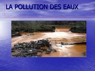 LA POLLUTION DES EAUX