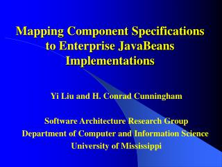 Mapping Component Specifications to Enterprise JavaBeans Implementations