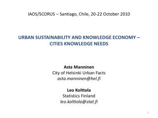 Urban sustainability and knowledge economy