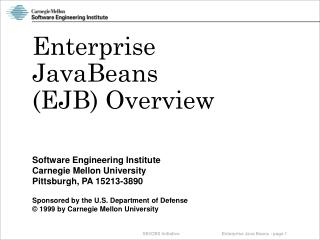 Enterprise JavaBeans  (EJB) Overview
