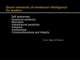 Seven elements of emotional intelligence  for  leaders