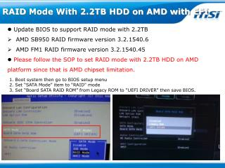 RAID Mode With 2.2TB HDD on AMD with EFI