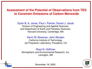 Assessment of the Potential of Observations from TES to Constrain Emissions of Carbon Monoxide