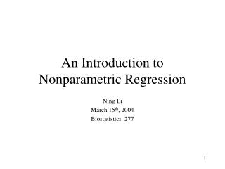 An Introduction to Nonparametric Regression