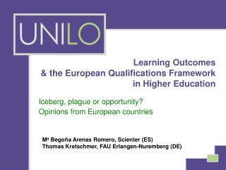 Learning Outcomes  & the European Qualifications Framework  in Higher Education
