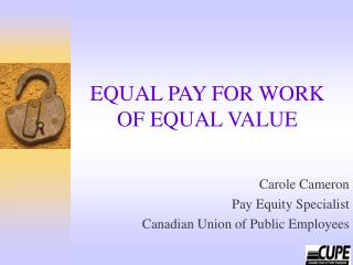 EQUAL PAY FOR WORK OF EQUAL VALUE