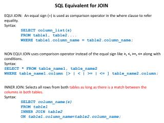 SQL Equivalent for JOIN