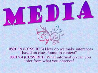 0801.5.9 (CCSS RI 3)  How do we make inferences based on clues found in context?