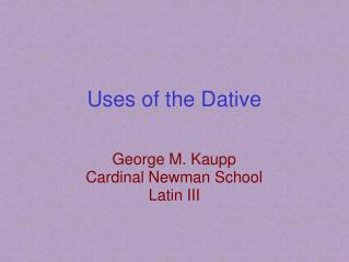 Uses of the Dative
