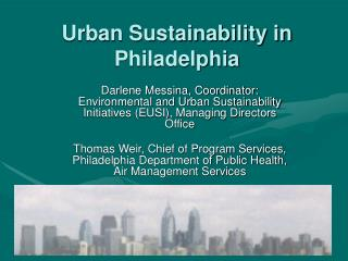 Urban Sustainability in Philadelphia