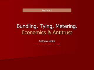 Bundling, Tying, Metering. Economics & Antitrust