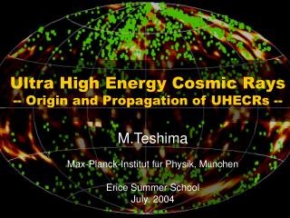 Ultra High Energy Cosmic Rays -- Origin and Propagation of UHECRs --