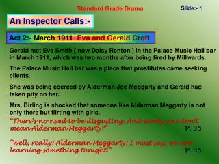 Act 2:- March 1911  Eva and Gerald Croft
