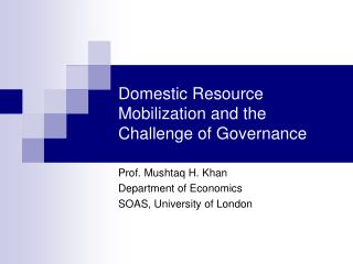 Domestic Resource Mobilization and the Challenge of Governance