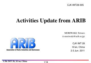 Activities Update from ARIB