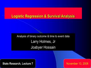 Logistic Regression & Survival Analysis