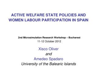 ACTIVE WELFARE STATE POLICIES AND WOMEN LABOUR PARTICIPATION IN SPAIN