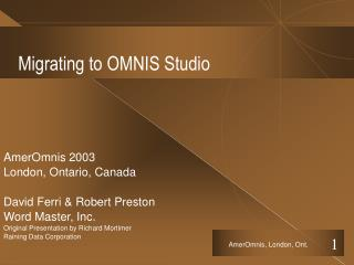 Migrating to OMNIS Studio