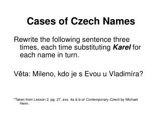 Cases of Czech Names