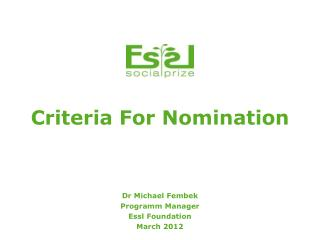 Criteria For Nomination
