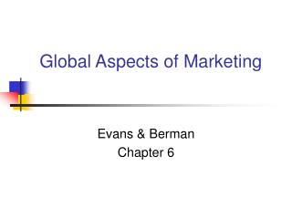 Global Aspects of Marketing