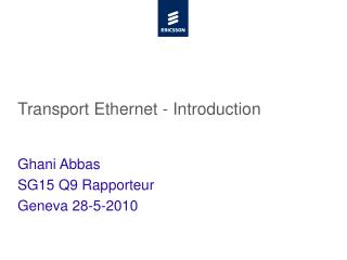 Transport Ethernet - Introduction