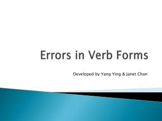 Errors in Verb Forms