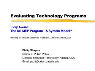 Evaluating Technology Programs