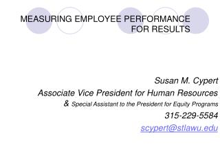 MEASURING EMPLOYEE PERFORMANCE FOR RESULTS