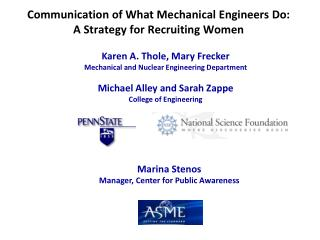 Communication of What Mechanical Engineers Do:   A Strategy for Recruiting Women