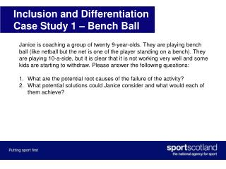 Inclusion and Differentiation Case Study 1 – Bench Ball