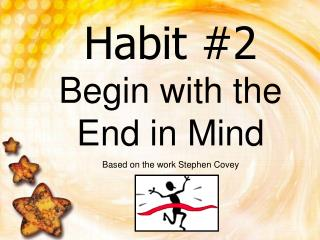 Habit #2 Begin with the End in Mind Based on the work Stephen Covey