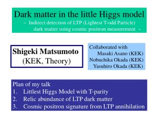 Plan of my talk Littlest Higgs Model with T-parity Relic abundance of LTP dark matter
