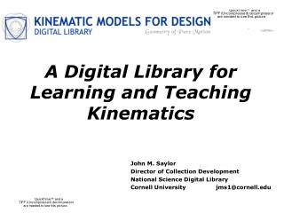A Digital Library for Learning and Teaching Kinematics