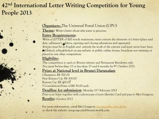 42 nd International Letter Writing Competition for Young People 2013