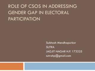 Role of CSOs in Addressing Gender Gap in Electoral Participation