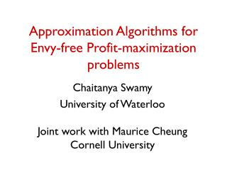 Approximation Algorithms for Envy-free Profit-maximization problems